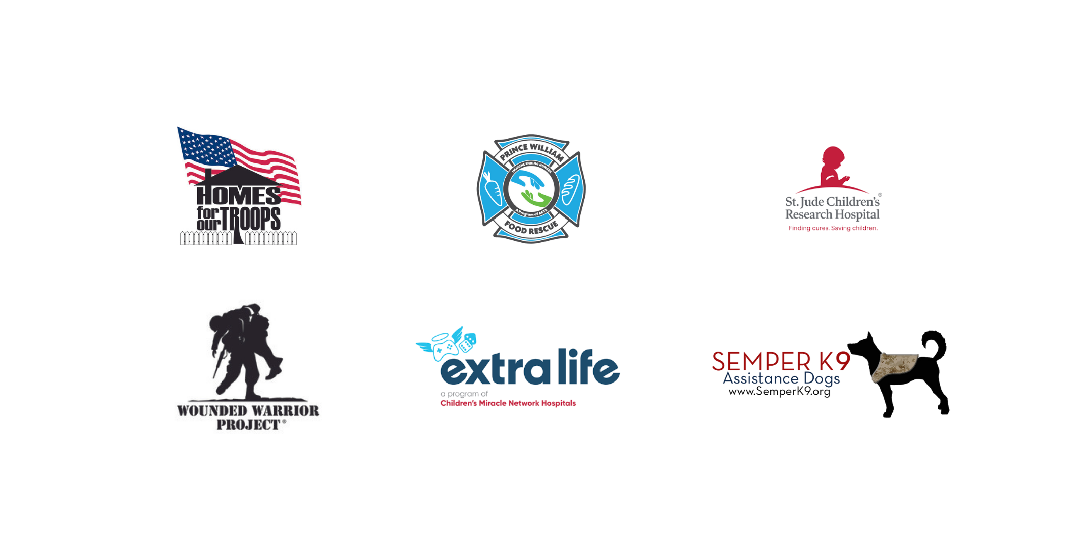Logos of the charities that D&G supports